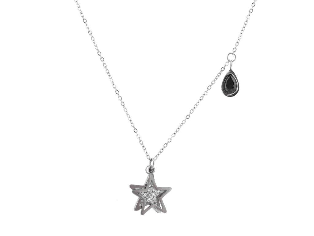 Ocelový náhrdelník STAR DROP stříbrný s krystalky
