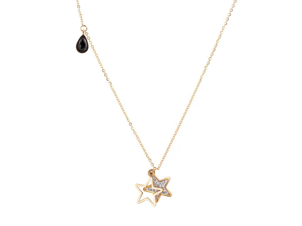 Ocelový náhrdelník STAR DROP zlatý s krystalky