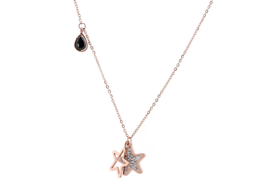 Ocelový náhrdelník STAR DROP rose gold s krystalky