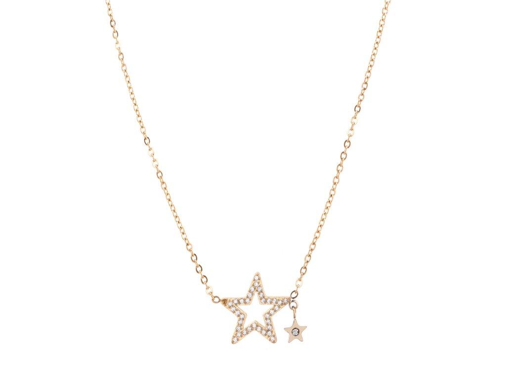 Ocelový náhrdelník GALAXY zlatý s krystalky