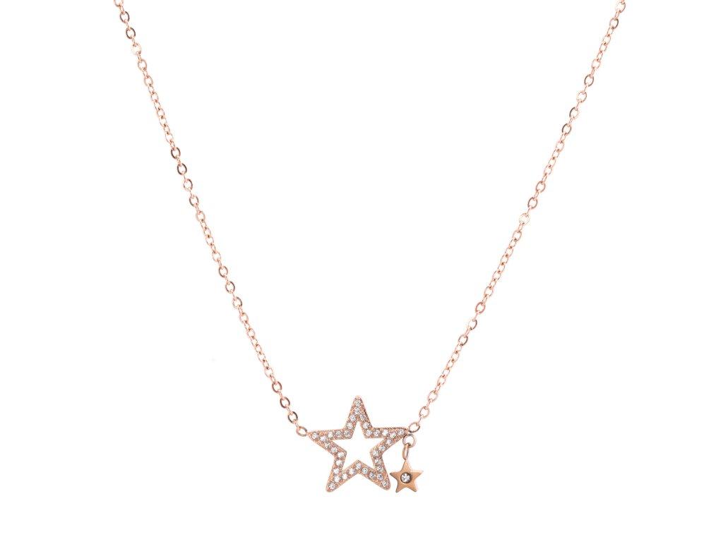 Ocelový náhrdelník GALAXY rose gold s krystalky