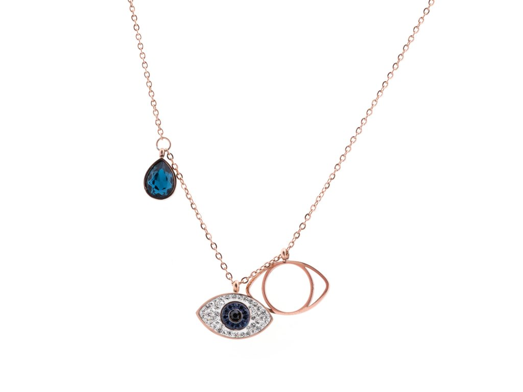 Ocelový náhrdelník GOD EYE rose gold s krystalky