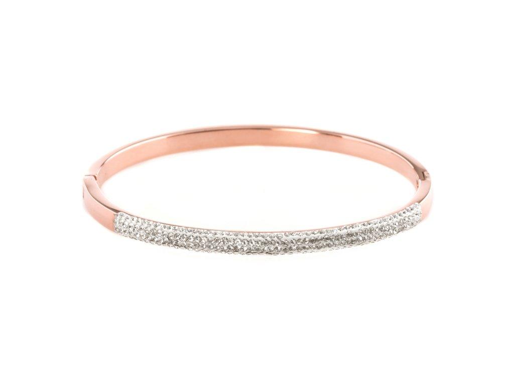 Ocelový náramek bangle GLITTER rose gold s krystalky
