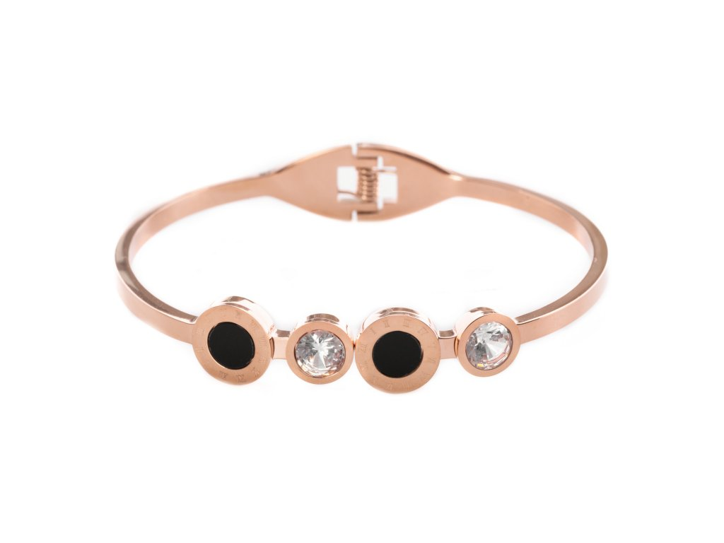 Ocelový náramek bangle SPOT FANCY rose gold s krystalky
