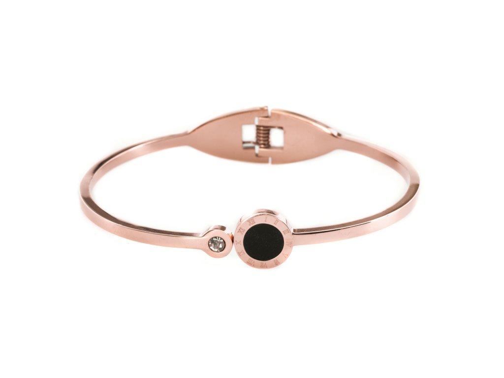 Ocelový náramek BLACK SPOT rose gold s krystalkem