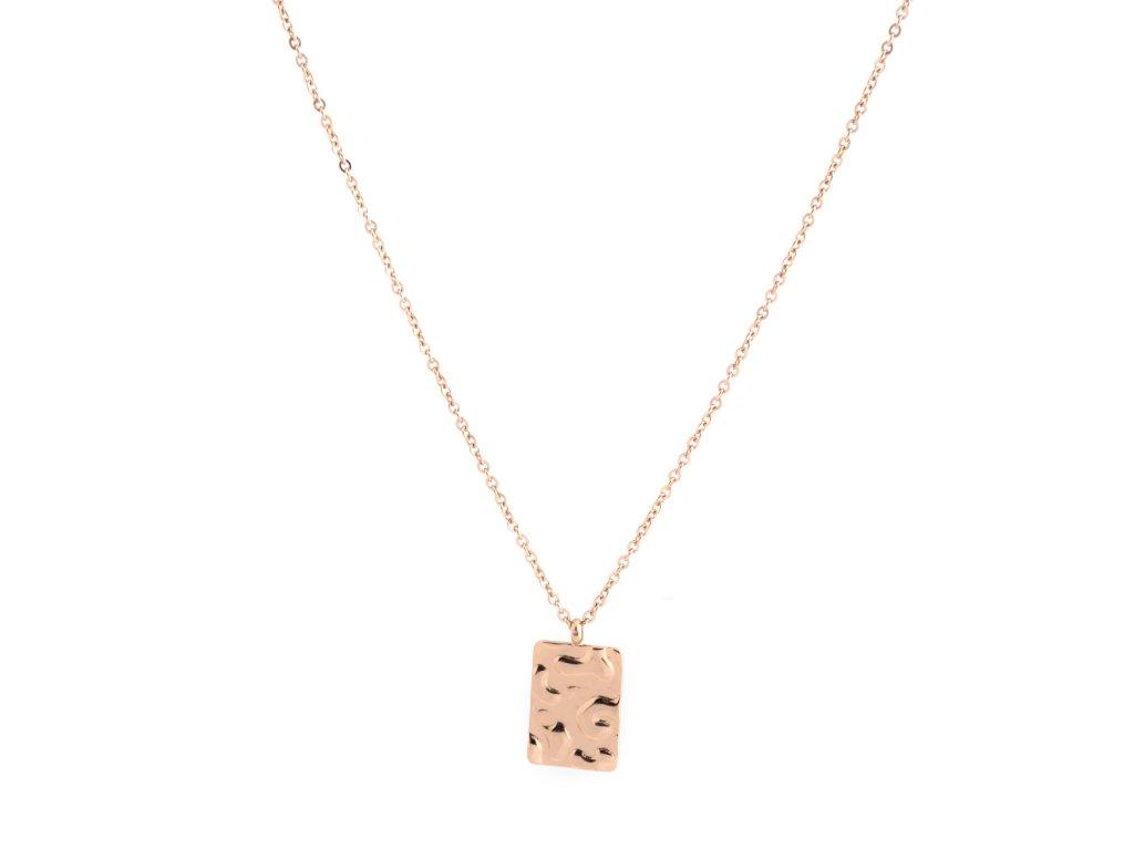 Ocelový náhrdelník WROUGHT RECTANGLE zlatý