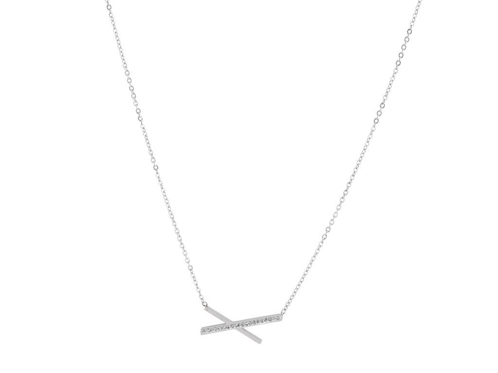 Ocelový náhrdelník DRAPE stříbrný s krystalky
