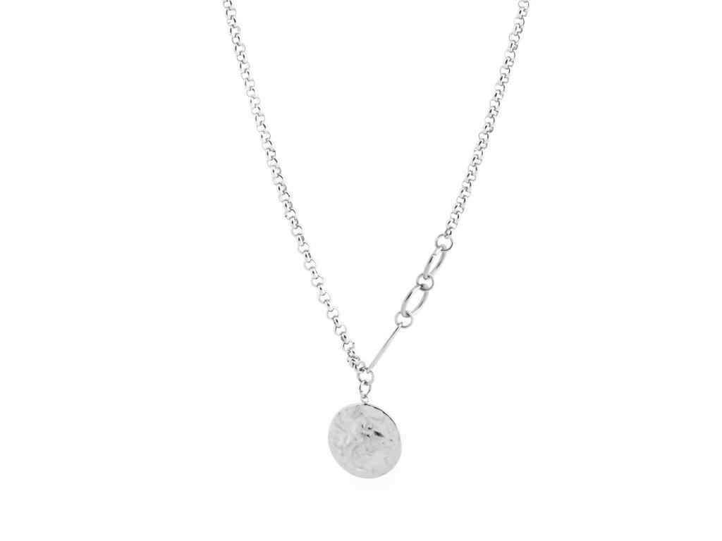 Ocelový náhrdelník s penízkem stříbrný
