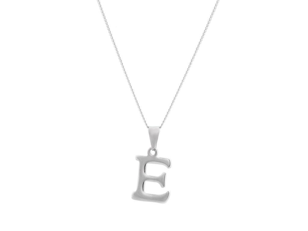 """Ocelový náhrdelník s písmenem """"E"""""""