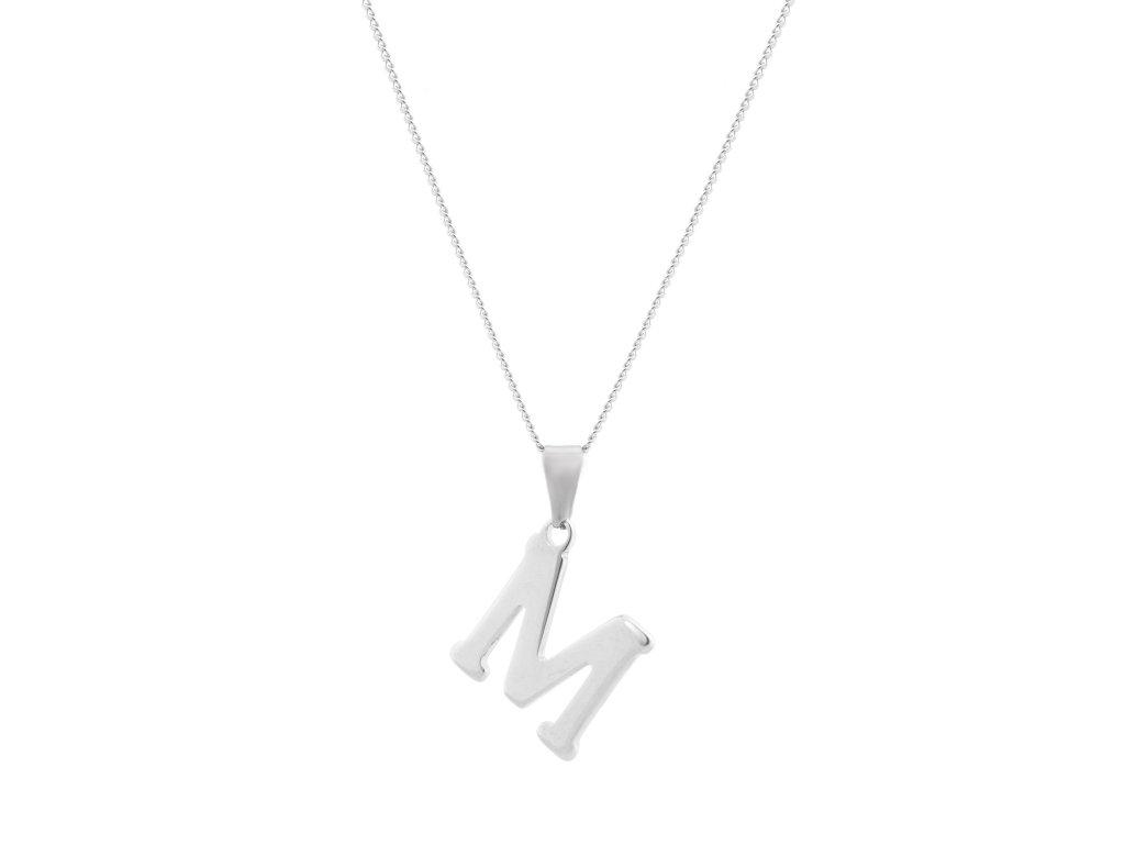 """Ocelový náhrdelník s písmenem """"M"""""""