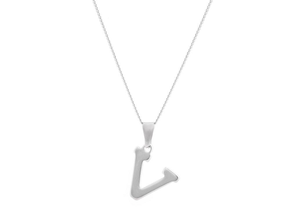 """Ocelový náhrdelník s písmenem """"V"""""""