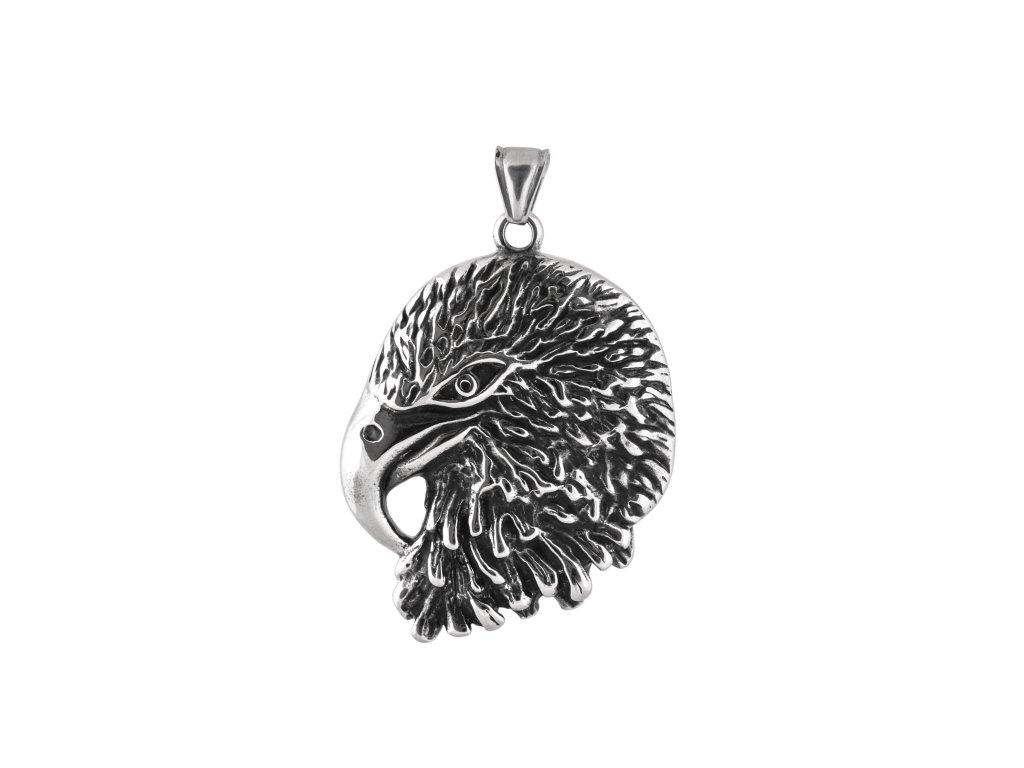 Ocelový přívěsek orlí hlava