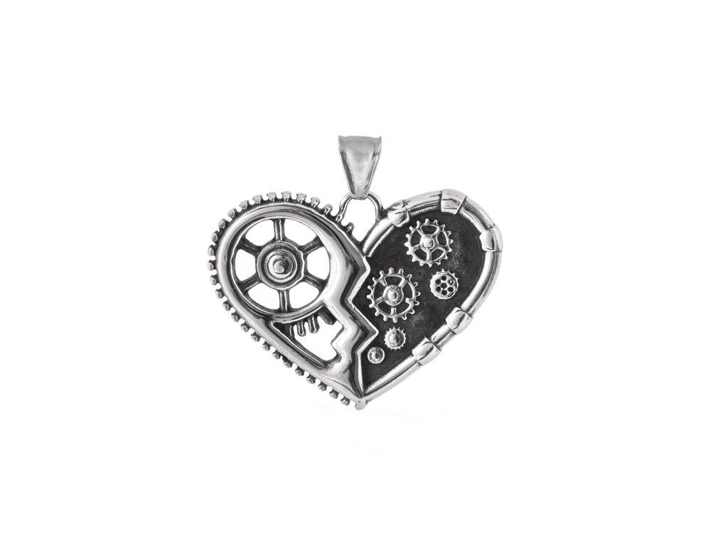 Ocelový přívěsek srdce steampunk