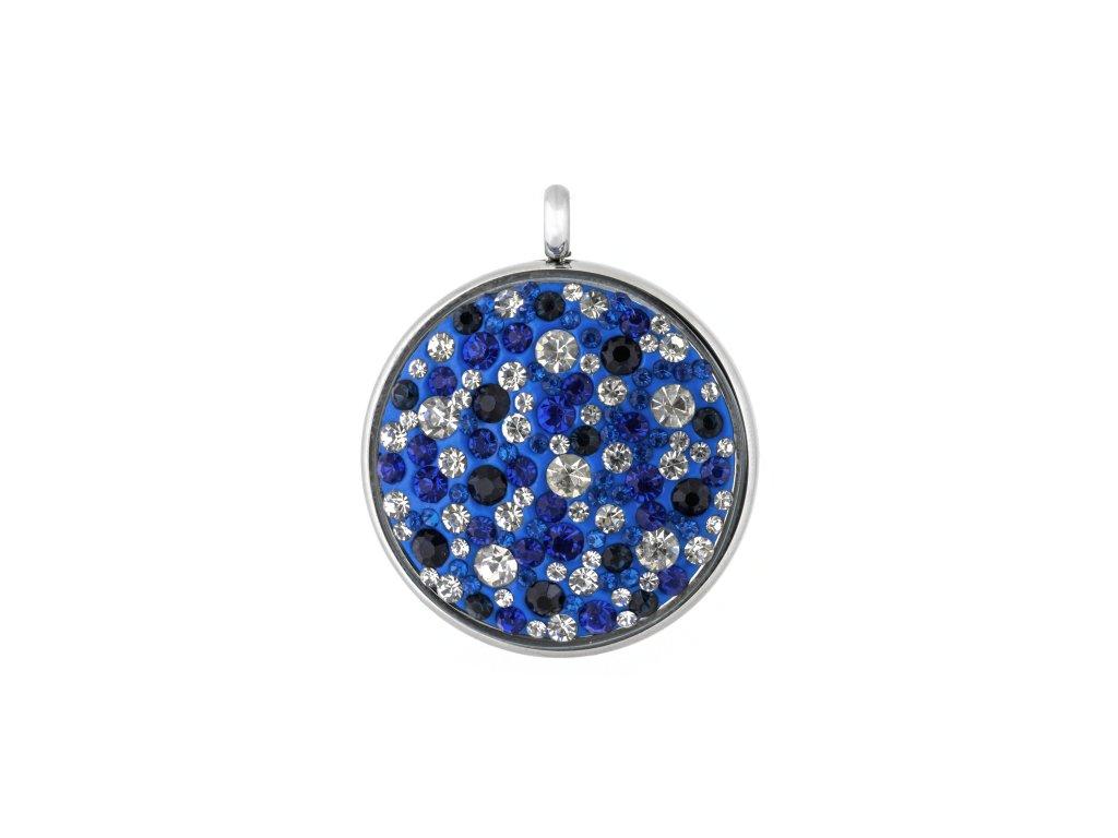 Ocelový přívěsek kruh s modro bílými krystalky