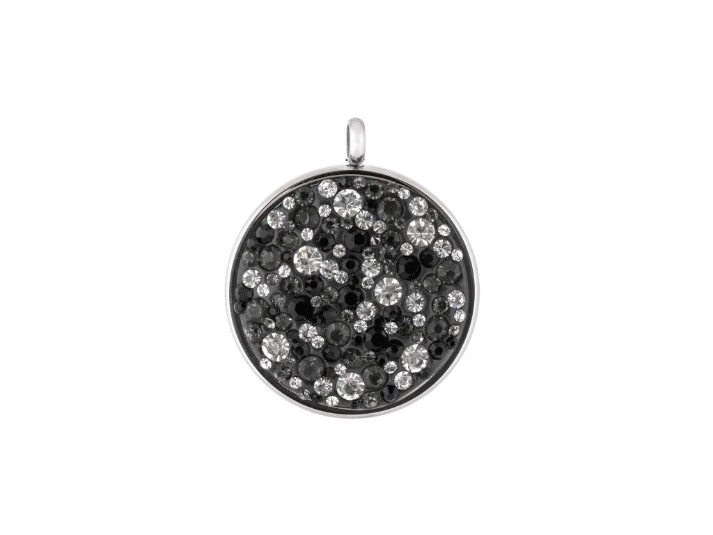 Ocelový přívěsek kruh s černo bílými krystalky