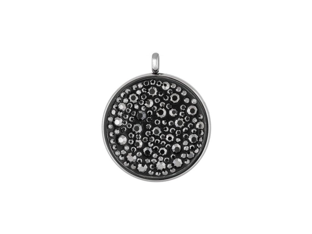 Ocelový přívěsek kruh se šedými krystalky