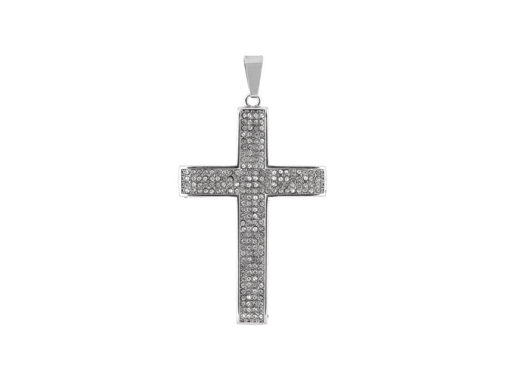 Ocelový přívěsek kříž s krystalky