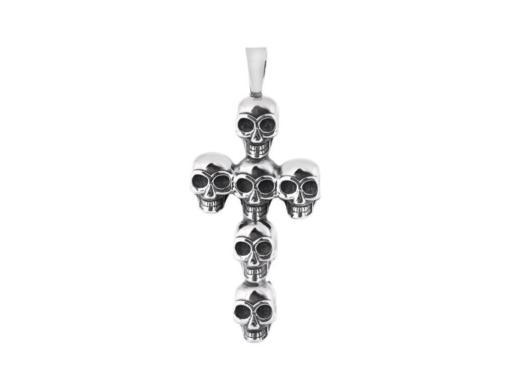 Ocelový přívěsek velký kříž s lebkami