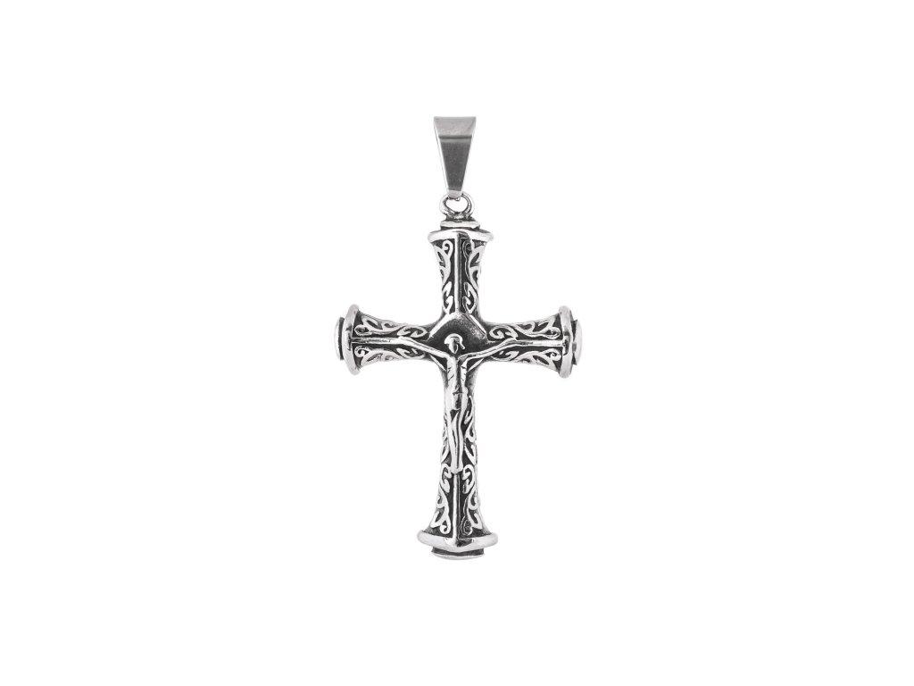 Ocelový přívěsek masivní kříž s ježíšem