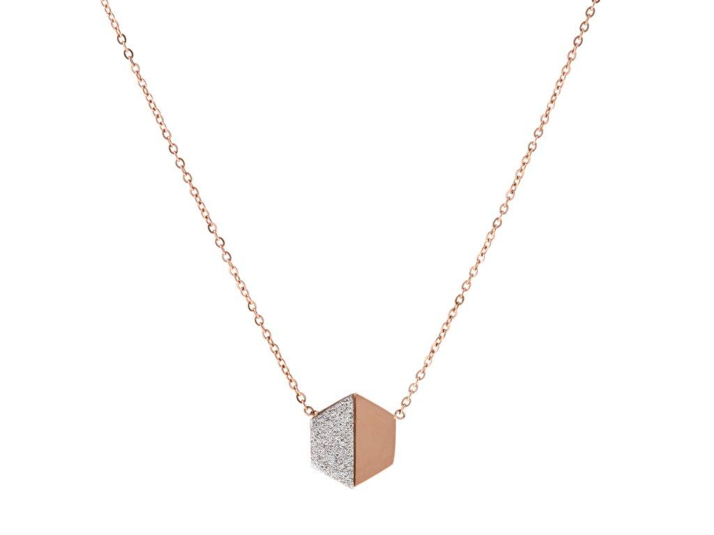 Ocelový náhrdelník HEXAGON DUST rose gold