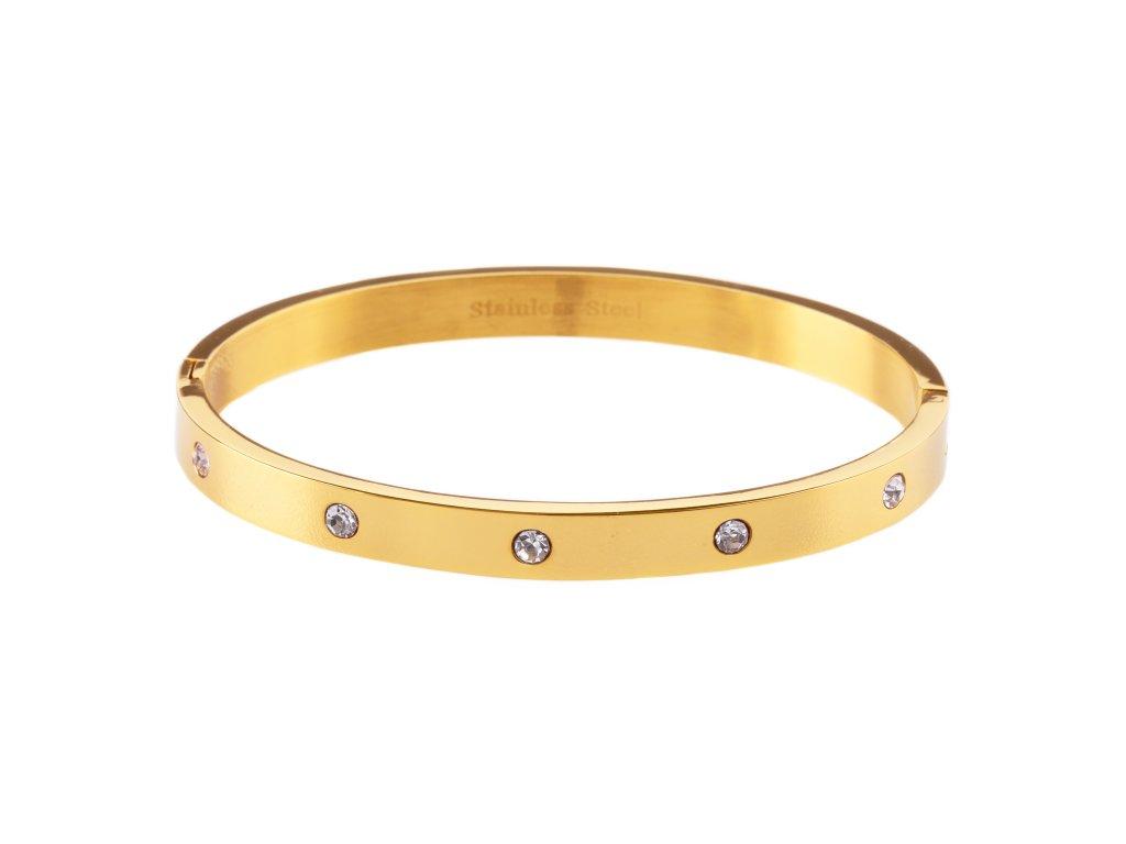 Ocelový náramek bangle DOTS Wide zlatý s krystalky