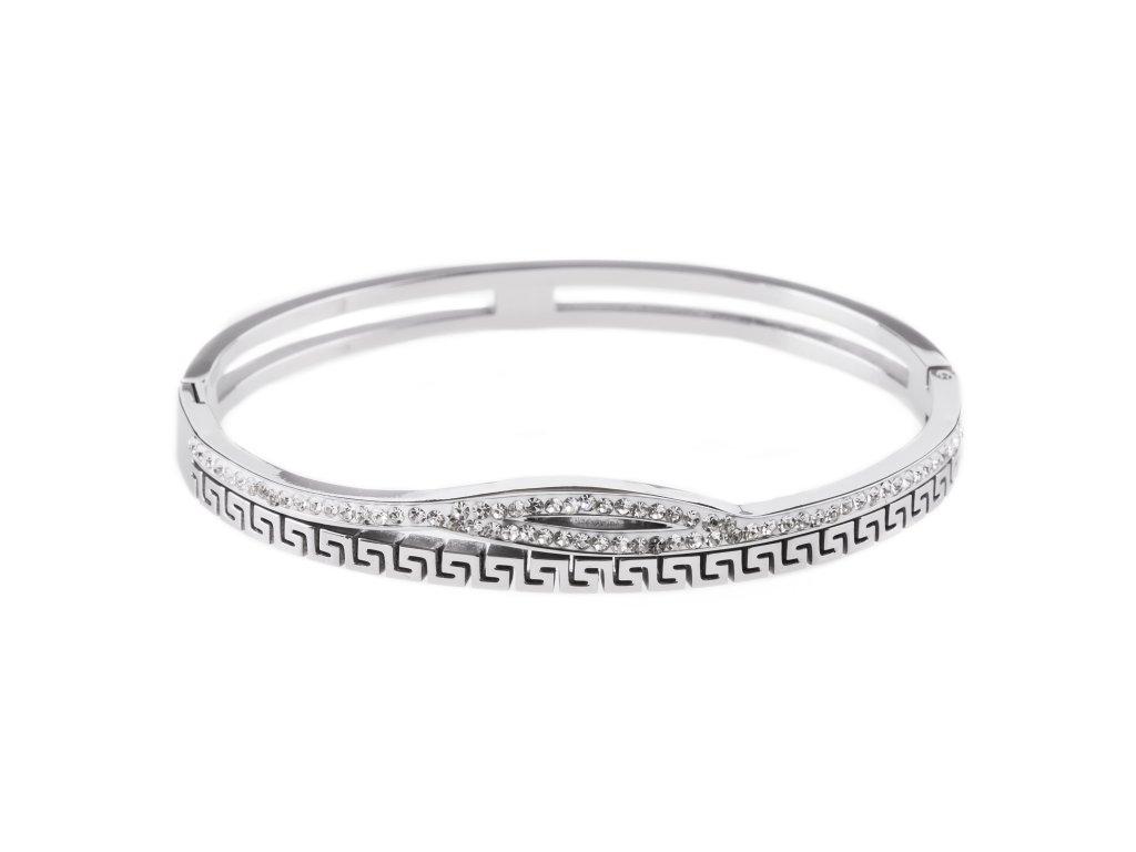 Ocelový náramek bangle ARC stříbrný s krystalky