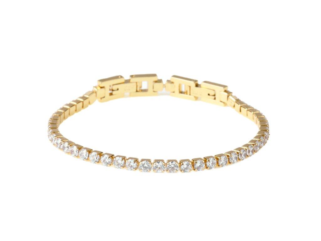 """Ocelový náramek """"Tennis bracelet"""" s krystalky 0,3 cm zlatý"""