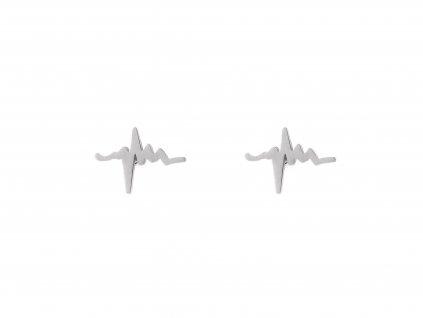 Ocelové náušnice pecky EKG křivka