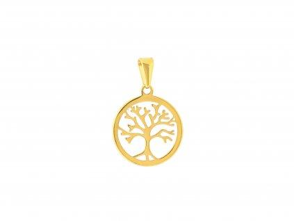 Ocelový přívěsek strom života zlatý
