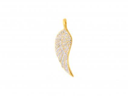 Ocelový přívěsek andělské křídlo s kamínky zlaté