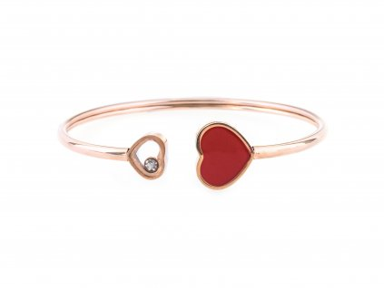 Ocelový náramek bangle FANCY HEARTS rose gold s krystalkem