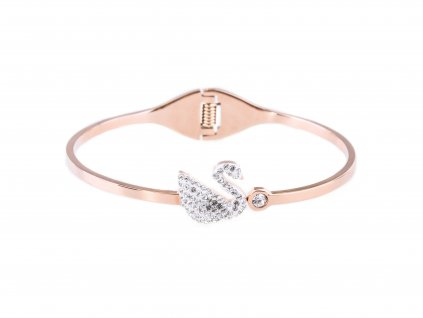Ocelový náramek bangle FANCY SWAN rose gold s krystalky