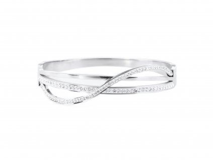 Ocelový náramek bangle STRIPE WAVELET stříbrný s krystalky