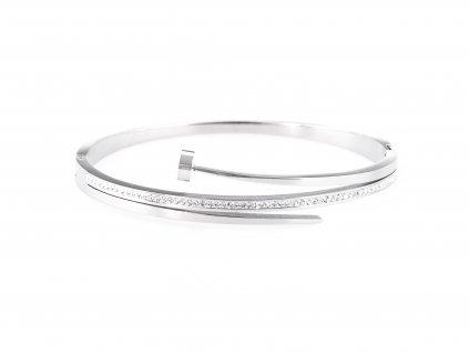 Ocelový náramek bangle STRIPE NAIL stříbrný s krystalky