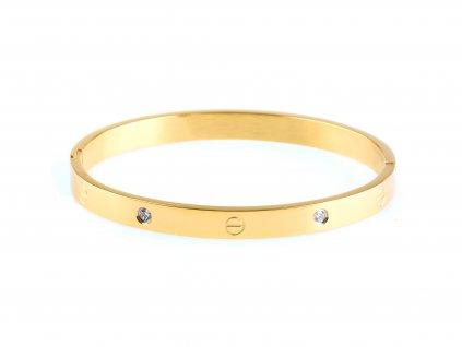 Ocelový náramek bangle SCREW DOTS WIDE zlatý s krystalky