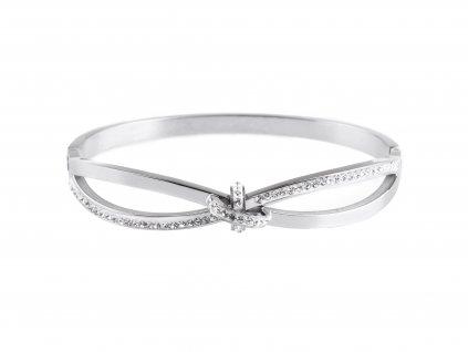 Ocelový náramek bangle KNOT stříbrný s krystalky