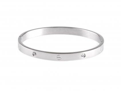 Ocelový náramek bangle SCREW DOTS WIDE stříbrný s krystalky