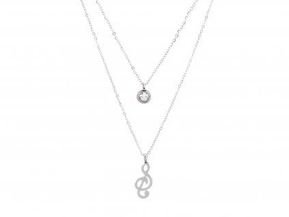 Dvojitý ocelový náhrdelník TONE stříbrný s krystalkem