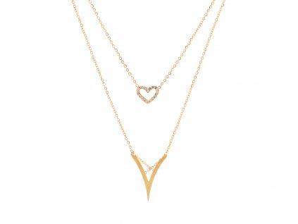 Dvojitý náhrdelník LOVE TRIANGLE zlatý