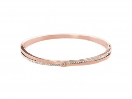 Ocelový náramek bangle STRIPE DOT rose gold s krystalky