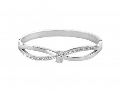 Ocelový náramek bangle RIBBON FANCY stříbrný s krystalky