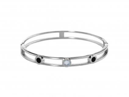 Ocelový náramek bangle NACRE DOTS stříbrný s krystalky