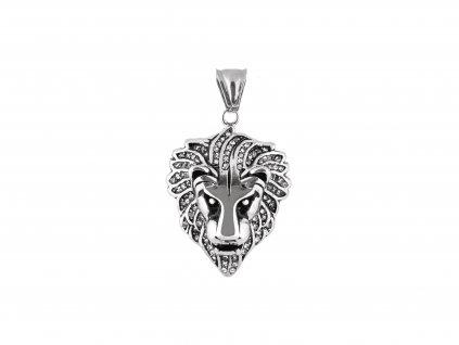 Ocelový přívěsek hlava lva  s krystalky