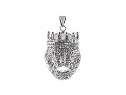 Ocelový přívěsek lví král  s krystalky