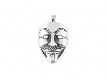 Ocelový přívěsek maska Anonymous