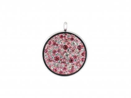 Ocelový přívěsek kruh s růžovo bílými krystalky