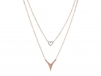 Dvojitý náhrdelník LOVE TRIANGLE rose gold