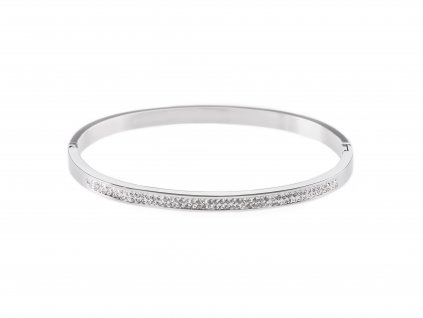 Ocelový náramek bangle STRIPE stříbrný s krystalky