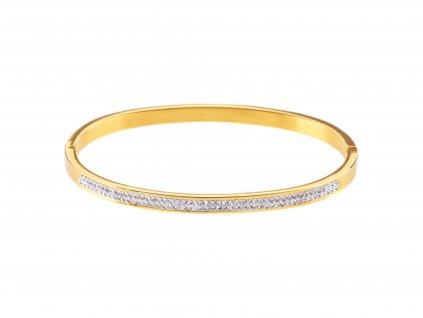Ocelový náramek bangle STRIPE zlatý s krystalky