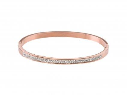 Ocelový náramek bangle STRIPE rose gold s krystalky